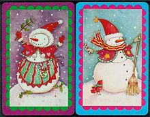 snowman holiday bridge game playing cards